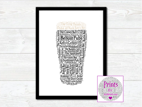 Pint of Belfast Pubs Wall Art Print: €10 - €55