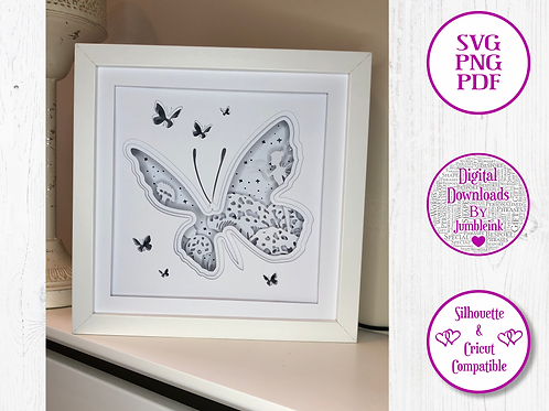 €5.50 - Butterfly White Card Stock - 3D Paper Cut Template Light Box SVG