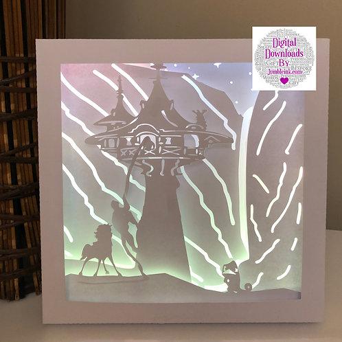 €5.50 Rapunzel Square 3D Paper Cut Template Light Box SVG