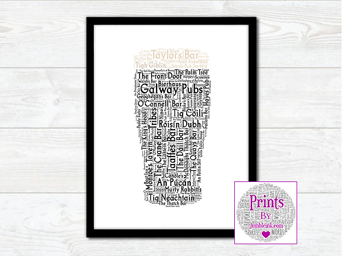 Pint of Galway Pubs Wall Art Print: