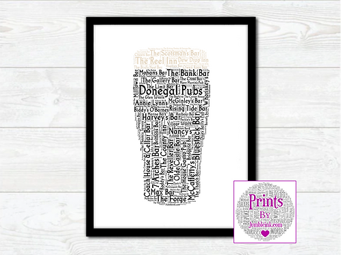 Pint of Donegal Pubs Wall Art Print: