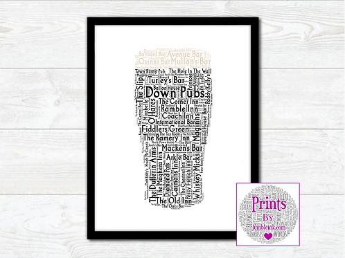 Pint of Down Pubs Wall Art Print: €10 - €55