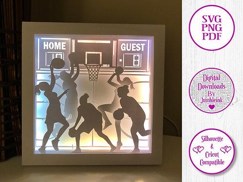 €5.50 - Basketball (Women's) - 3D Paper Cut Template Light Box SVG
