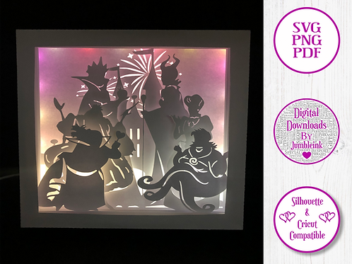 Disney Villains - 3D Paper Cut Template Light Box