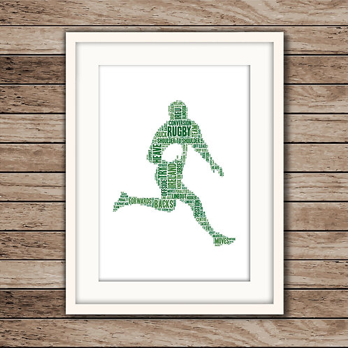 Rugby Player Wall Art Print: