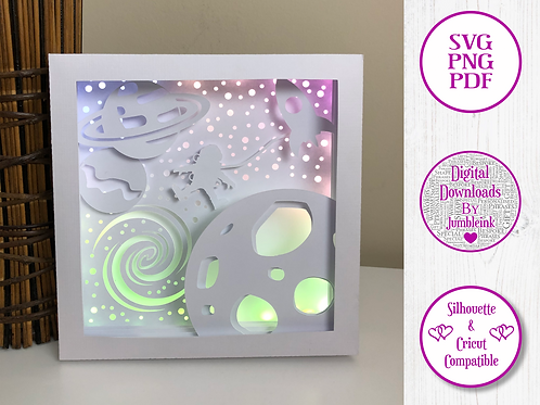 €5.50 - Space Walk  - 3D Paper Cut Template Light Box SVG