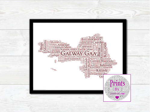 Galway GAA Clubs Wall Art Print: