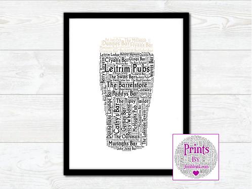 Pint of Leitrim Pubs Wall Art Print: €10 - €55