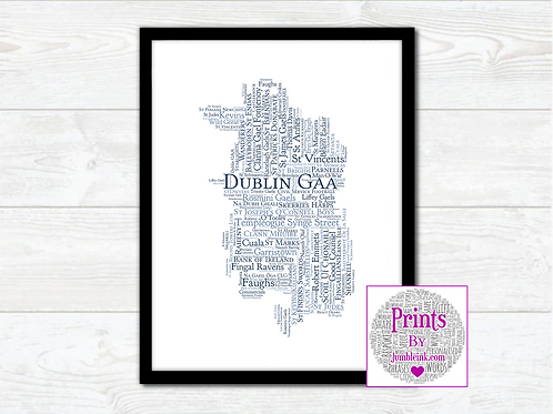 Dublin GAA Clubs Wall Art Print: €10 - €55