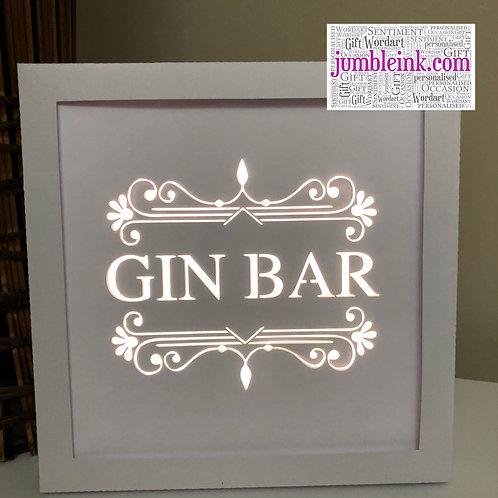 €5.50 - Gin Bar - Square 3D Paper Cut Template Light Box SVG