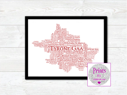 Tyrone GAA Clubs Wall Art Print: