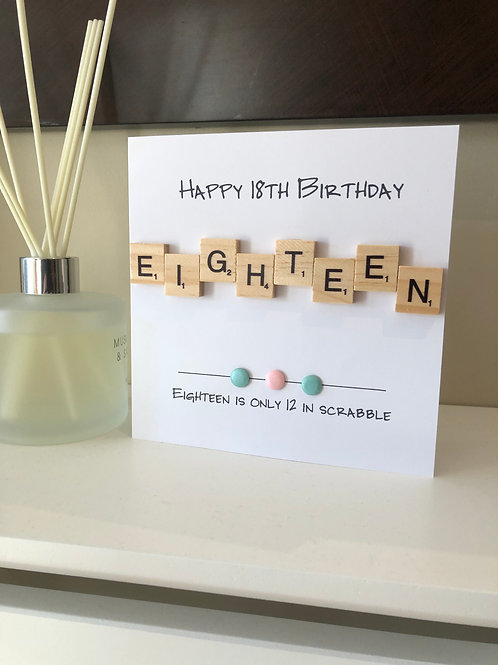 18th Birthday Scrabble Card: €5