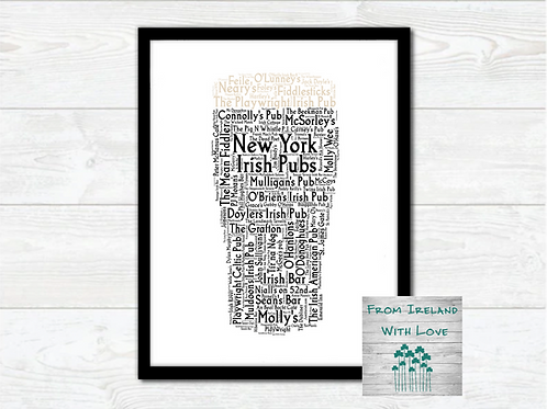 Pint of New York Irish Pubs Wall Art Print: