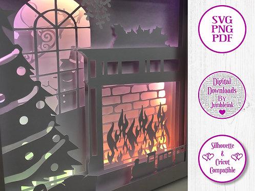 €5.50 - Christmas Fireplace - 3D Paper Cut Template Light Box SVG