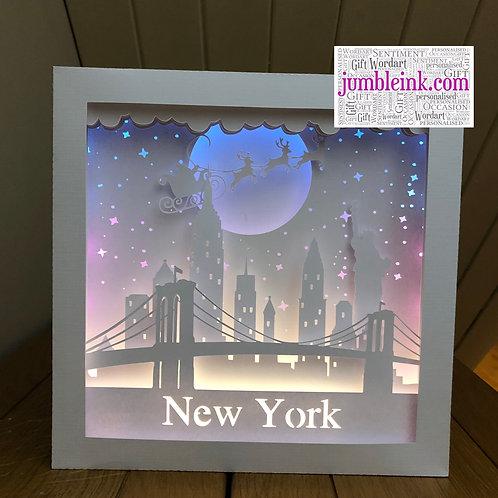 €5.50 - Santa over New York - 3D Paper Cut Template Light Box SVG
