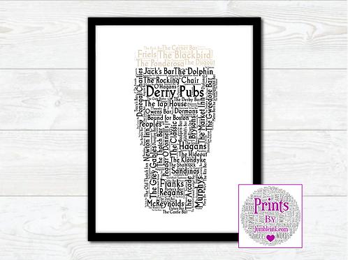 Pint of Derry Pubs Wall Art Print: €10 - €55