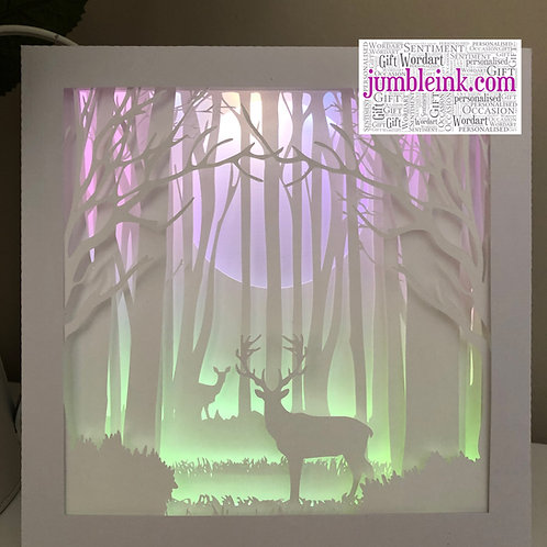 €5.50 - Deer In The Woods - Square 3D Paper Cut Template Light Box SVG