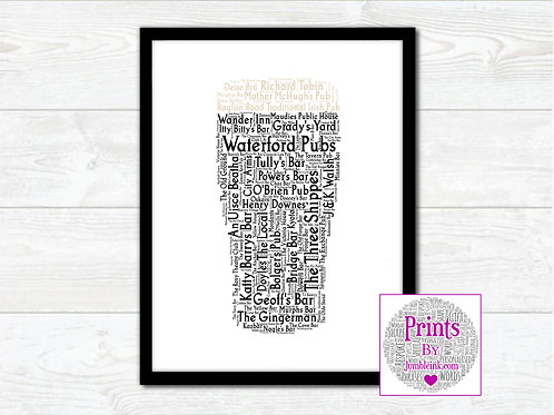 Pint of Waterford Pubs Wall Art Print:
