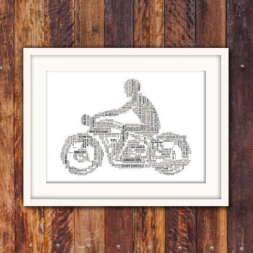 Vintage Biker Wall Art Print: