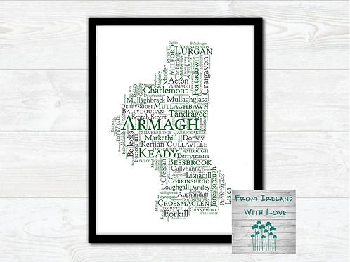 County Armagh Towns Wall Art Print: