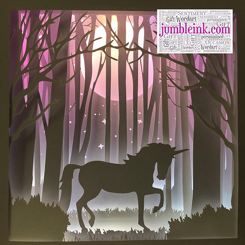 €5.50 - Unicorn In The Woods - 3D Paper Cut Template Light Box SVG