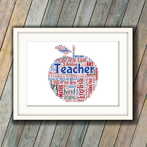 Teacher Apple Wall Art Print: