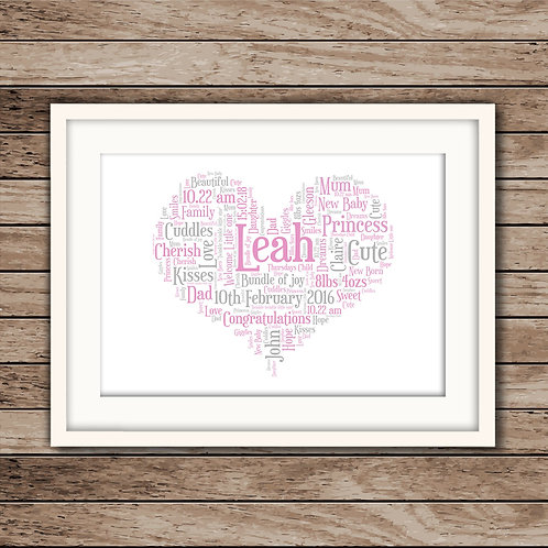 New Baby Heart Wall Art Print: €10 - €55