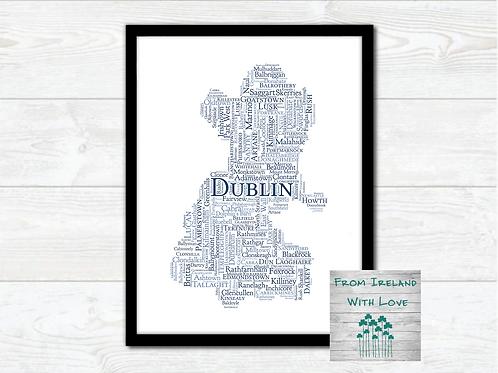 County Dublin Towns Wall Art Print: