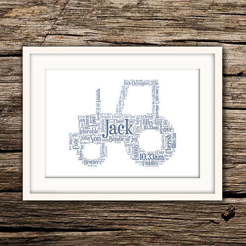 New Baby Tractor Wall Art Print: