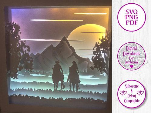 €5.50 - Couple Horse Riding - 3D Paper Cut Template Light Box SVG