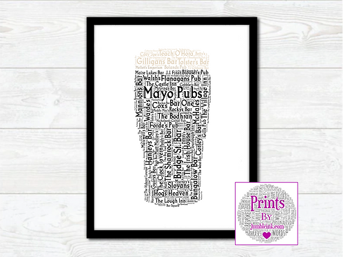 Pint of Mayo Pubs Wall Art Print: