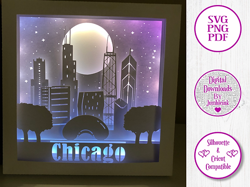 €5.50 - Chicago  - 3D Paper Cut Template Light Box SVG