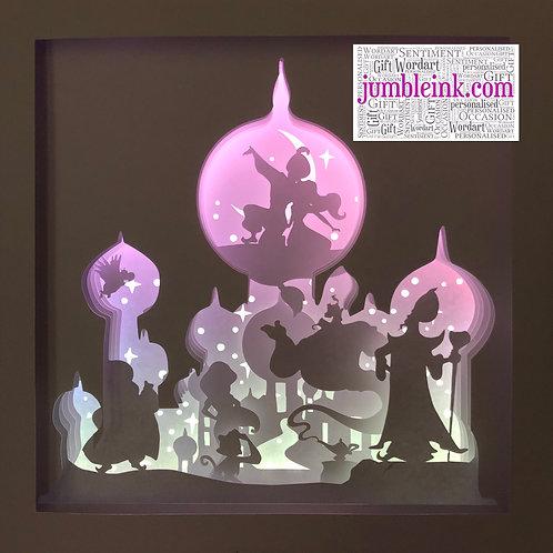 €5.50 Aladdin Square 3D Paper Cut Template Light Box SVG