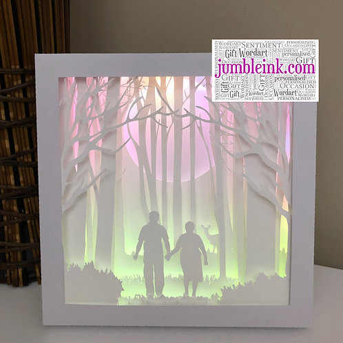 €5.50 - Grandparents in the Woods - 3D Paper Cut Template Light Box SVG