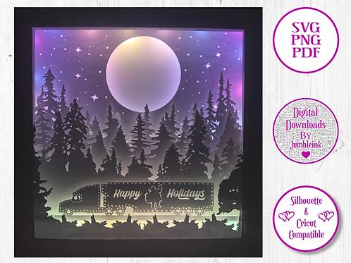 €5.50 - Santa's Truck - 3D Paper Cut Template Light Box SVG