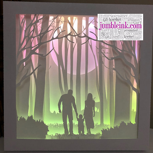 €5.50 - Family in the Woods Child - 3D Paper Cut Template Light Box SVG