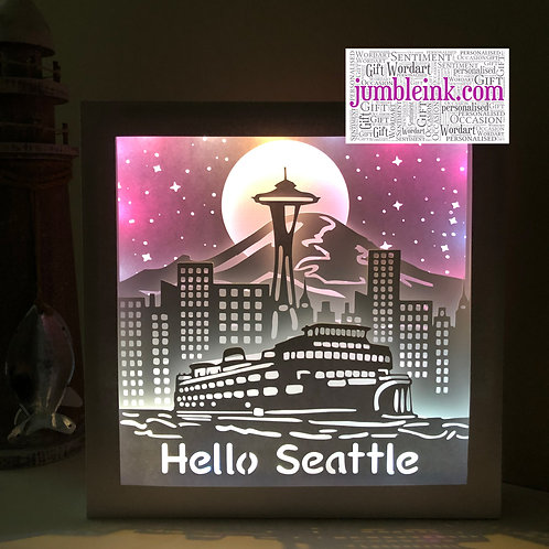 €5.50 - Seattle Skyline - 3D Paper Cut Template Light Box SVG