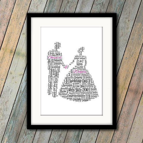 Wedding Bride & Groom Wall Art Print: