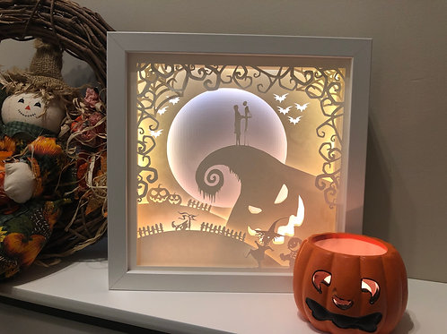€5.50 - Nightmare Before Christmas - 3D Paper Cut Template Light Box SVG