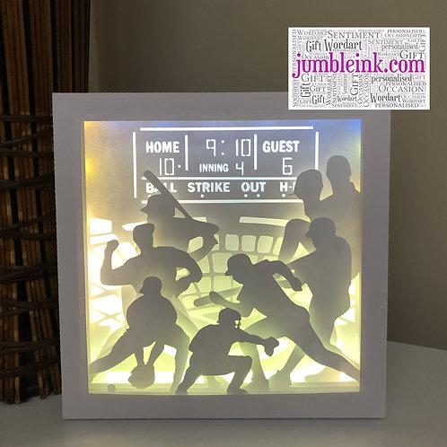 €5.50 - Baseball - Square 3D Paper Cut Template Light Box SVG