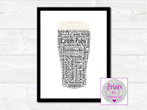 Pint of Louth Pubs Wall Art Print: