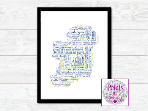 Wicklow For the Craic Map Wall Art Print: