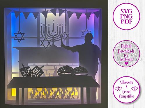 €5.50 - Hanukkah  - 3D Paper Cut Template Light Box SVG