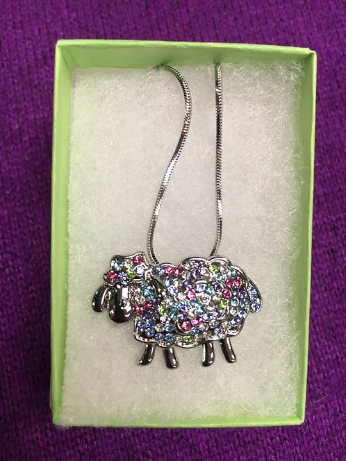 Multi-Colored Rhinestone Sheep Pendant Necklace