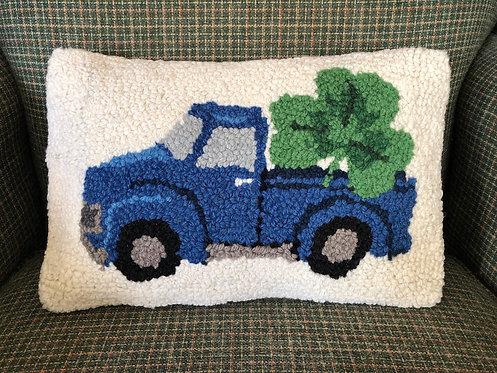 "Shamrock Wool Hooked Pillow 8""x12"""