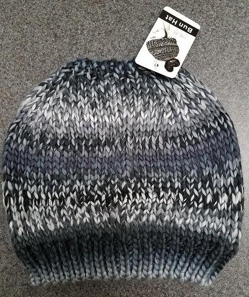 Gray Tones Bun Winter Hat