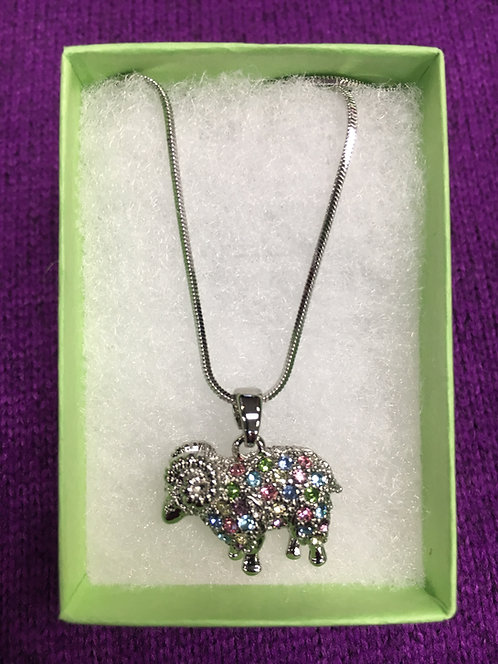 Multi-Colored Rhinestone Ram Pendant Necklace