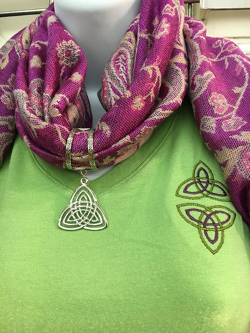 V-Neck with Trinity Knot Sleeve Design and Embroidery