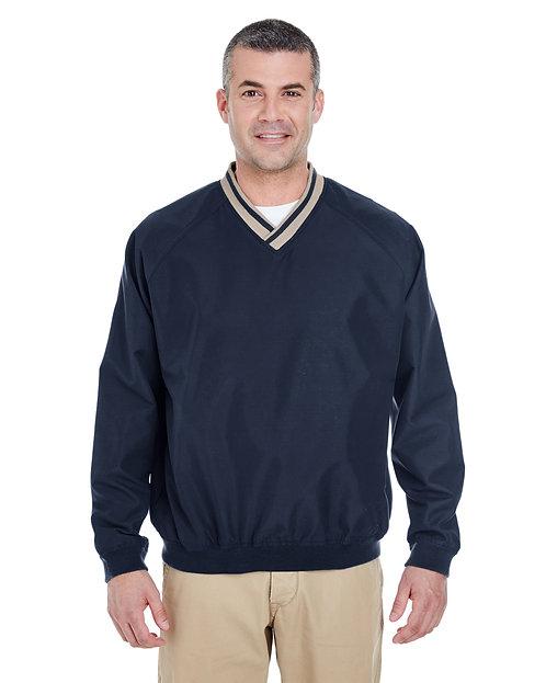 8926 UltraClub Adult Long-Sleeve Microfiber Crossover V-Neck Windshirt