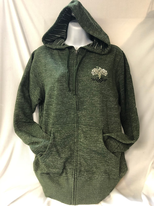 Green Stripe Marble Full-Zip Hoodie